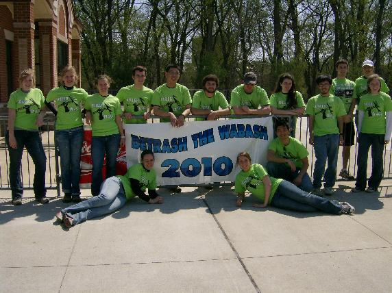 Team of Anti-Pollution Community Members Holding &#34Detrash the Wabash 2010&#34 Sign