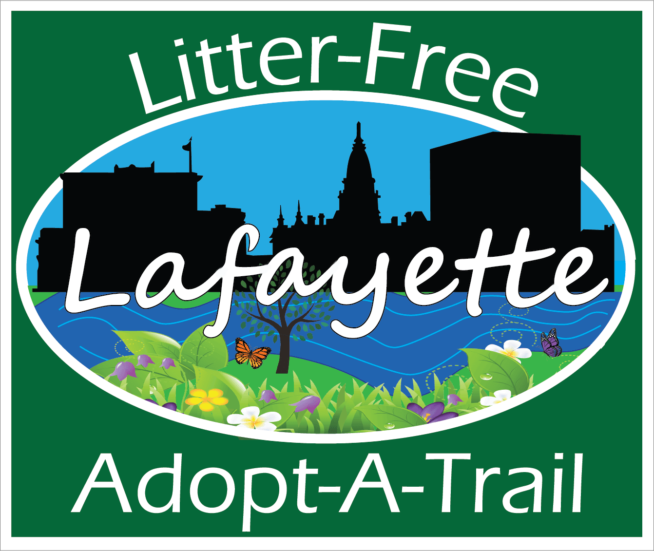 Litter Free Lafayette Adopt-A-Trail sign - Eras Medium ITC