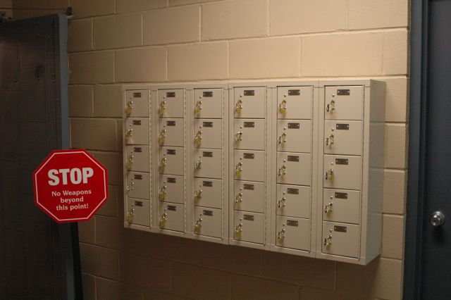 Weapons lockers are provided and no weapons are allowed in the training area