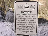 Combined Sewer Overflow Notice Sign