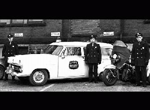 Police Ambulance and Motorcyles about 1955