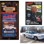 In the collage is the matchbox collectible, D.A.R.E. Officer Barry Richards, and the D.A.R.E. car