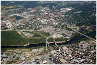 Aerial View of City of Lafayette and the Wabash River