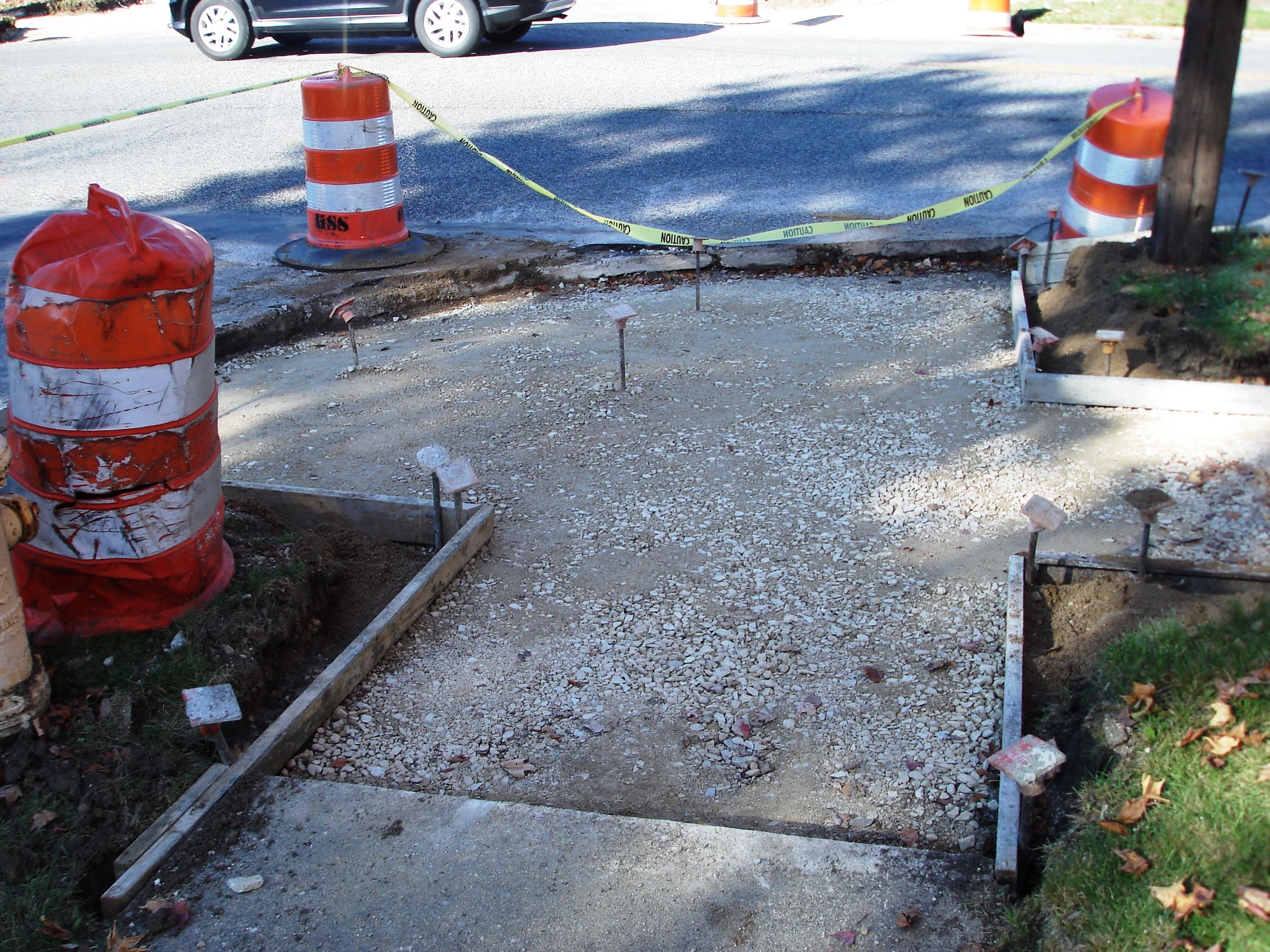 Sidewalk corner and ramp on South Street ready to be poured